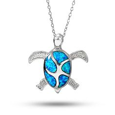 Turtle+sterling+silver+necklace+highlighted+by+blue+opal.+A+fun+turtle+jewelry+piece!
