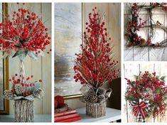 Nejkrásnější dekorace z jeřabin, které Vás budou těšit zimní měsíce: 20+ inspirací na sváteční stůl! Rustic Christmas, Christmas Wreaths, Christmas Tree, Diy Wreath, Ladder Decor, Planters, Craft Things, Holiday Decor, Crafts