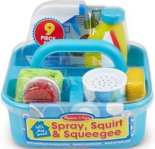 This spray, squirt & squeegee play set has everything your lil one need to keep their play house sparkling clean.These cleaning toy are great bath toys as well! Cleaning Caddy, Cleaning Checklist, Cleaning Supplies, Cleaning Materials, Teaching Materials, Melissa & Doug, Bath Toys, Inspiration For Kids, Imaginative Play