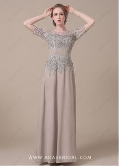 Buy discount Elegant Lace & Chiffon Jewel Neckline Full-length Sheath Mother of The Bride Dresses at Laurenbridal.com