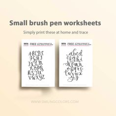 Free lettering printables for small brush pens Drawing Letters, Printable Letters, Doodle Drawings, Brush Pen, Handmade Crafts, Worksheets, Free Printables, Doodles, Cards Against Humanity