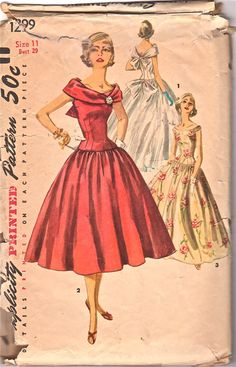 Simplicity 1299 1950s  Evening Gown Pattern Bouffant Skirt Collar is off shoulder and draped womens vintage sewing pattern by mbchills