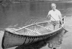 One of the earliest memories I have of seeing a birchbark canoe was a photo of Canada's Prime Minister, Pierre Elliott Trudeau (Octobe. Wood Canoe, Outdoor Life, Outdoor Stuff, Canoe And Kayak, Birch Bark, Wooden Boats, Boat Building, Water Crafts, American Art