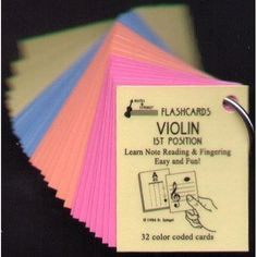 Mini Laminated Violin Flash Cards - 32 Flashcard Set by Shar Music. $17.49. Now for violin, viola, and cello. First position, all four strings. Thirty-two plastic coated cards, 2 x 2 1/2 inches. Notation on one side, letter names and fingerboard location on the reverse side. Different color for each string.