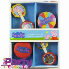 Peppa Pig Cup Cake Decorating Kit (24 patty pans & picks). The problem is the cases are muffin size (ok if you like large cupcakes).