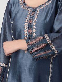 Best 12 Indigo Ajrakh-printed Chanderi Kurta with Embroidery Kurta Designs Women, Blouse Designs, Dress Shirts For Women, Clothes For Women, Denim Kurti, Kurta Patterns, Kurti Embroidery Design, Kurta Neck Design, Indian Designer Outfits