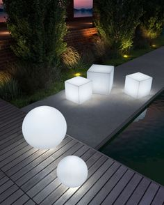 "Lumen Stools by ZUO - Large Sphere (23.5""), Small Sphere (12""), Large Cube (20""). $220 - $475."
