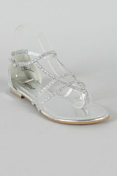 d1aebd34733 amazon guarantee Rhinestone Strappy Thong Flat Sandal  22.20 Lowest price. Silver  Sandals