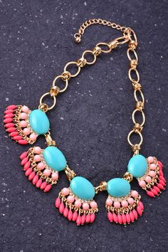 Turquoise and Pink Statement Necklace www.liliesandfillies.com
