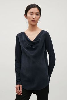 COS image 8 of Top with draped neckline in Dark Navy