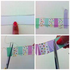 Tutorial: Bunting cake topper by Chiarapassion 1st Boy Birthday, Diy Birthday, Birthday Cards, Washi Tape Crafts, Paper Crafts, Cumpleaños Diy, Diy Cake Topper, Creative Cards, Diy Cards