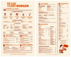 Menu for Yeah! Burger by Ted Carpenter. I feel like I would have the best time ever eating one of these burgers. (Part 2)