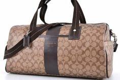 Coach Men S Women Signature Chs Leather Duffle Bag 77278 Khaki Brown