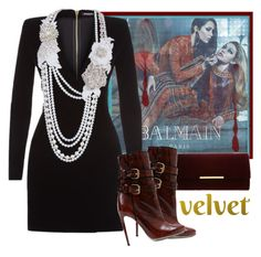 """""""Smooth velvet"""" by fashionrushs ❤ liked on Polyvore featuring Balmain"""