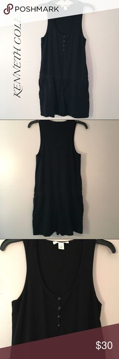 """🌼Kenneth Cole summer romper Kenneth Cole black romper, perfect for summer! Size M, front pockets, cotton/modal/spandex blend, drawstring drop waist (so flattering!), 4-button henley top. Approx measurements: 33"""" long, 21.5"""" from shoulder to waist, 15"""" pit-to-pit. So soft and has stretch to it, EUC, smoke free home! Kenneth Cole Shorts"""
