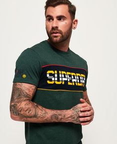 NEW Super Dry Mens Athletic Super 7 Tri Short Sleeve Regular Fit Cotton T-Shirt