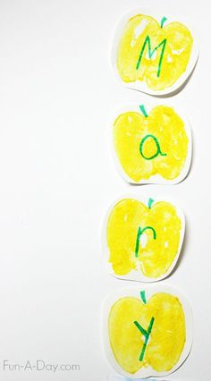 A fun painted name activity to go along with the book 10 Apples up on Top