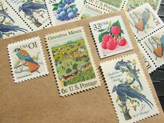 Berry Patch .. UNused Vintage Postage Stamps  .. post 5 letters. $6.50, via Etsy.
