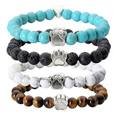 """JOVIVI 4pc Vintage Lava/Turquoise/Tiger Eye Stone Healing Power Crystal Dog Paw Charm Elastic Stretch Beaded Bracelets. Material: Stretch Bracelet Made from Natural Lava/Tiger Eye Stone/Synthetic Turquoise, and Antique Silver Alloy Paw;. Yoga or Meditation Inspired Chakra Balancing Stretch Bracelet;. Stone Diameter: 5/16"""" or 8mm,Elephant size: 13*8*5mm. Suitable for wrist size at around 6.6"""". Great and One of the Most Popular Graduation, Anniversary, Thank You, Birthday, Last Minute, Get..."""