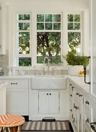 Image result for glass cabinets next to window above sink