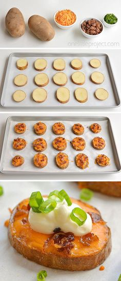 These easy baked potato skins are SO GOOD. This is such a great appetizer recipe! So simple to make and they taste amazing. Serve them warm with your favourite baked potato toppings. They make a great game day snack, an… Baked Potato Toppings, Easy Baked Potato, Baked Potatoes, Cheesy Potatoes, Simple Potato Recipes, Baked Potato Dinner Recipe, Simple Easy Dinner Recipes, Fun Dinner Ideas, Baked Potato Recipes