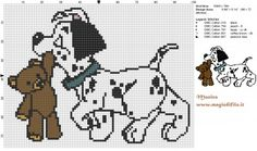 Dalmatian puppy with Teddy Bear cross stitch pattern - free cross stitch patterns simple unique alphabets baby Disney Cross Stitch Patterns, Cross Stitch For Kids, Cross Stitch Baby, Cross Stitch Charts, Beaded Cross Stitch, Cross Stitch Embroidery, Embroidery Patterns, Stitch Disney, Stitch Character
