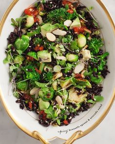 Easy Workweek Lunches Worth Getting Excited About - Spicy Brussels Sprouts and Avocado Salad #theeverygirl