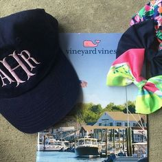 Regram from @colorado_prep , monogrammed navy baseball cap in lilac with our fishtail font ♡ shop our site or etsy!