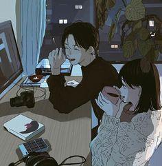 * - - - - ◇ ◆ I don't own these art ◇ ◆©️artis Kawaii Illustration, Illustration Mignonne, Couple Illustration, Cute Couple Art, Anime Love Couple, Cartoon Kunst, Cartoon Art, Aesthetic Anime, Aesthetic Art