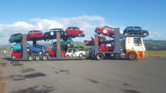 Classic Minis on a transporter
