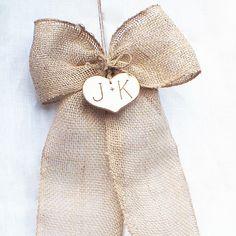 Personalized Burlap Pew Bow - Burlap Wedding Decor, Barn Wedding Decor, Set Of Two