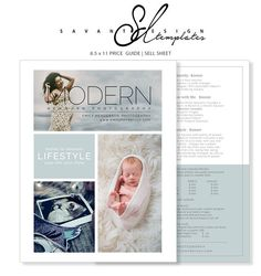 Price Guide Photography Templates Newborn Marketing