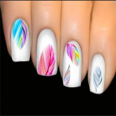 Nail Art Varnish Stickers Multicolored Feather Nails Boho Transfer Easy and flawless manicure thanks to this decal sticker varnish. Refined and bohemian print with multicolored feathers. Trendy new, 20 stickers per sheet. 3d Nail Art, Feather Nail Art, Colorful Nail Art, Nail Art Hacks, Easy Nail Art, Nail Arts, Feather Nail Designs, Feather Design, Art 3d