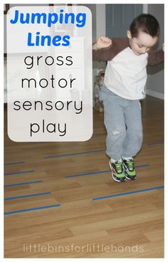Simple proprioceptive gross motor play indoors! Jumping lines for proprioceptive sensory input is an easy idea. Proprioceptive gross motor play any time.