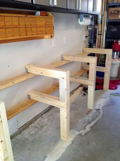 New Organization Ideas For Your Garage Shop!You can find Garage workshop and more on our website.New Organization Ideas For Your Garage Shop! Workbench Designs, Workbench Plans, Garage Workbench, Workbench Stool, Industrial Workbench, Workbench With Pegboard, Woodworking Projects That Sell, Diy Woodworking, Woodworking Techniques