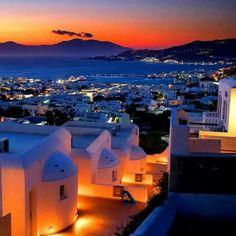 Mykonos at night, Cyclades, Greece