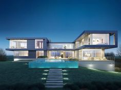 16. This spec property —which has yet to be built —is already on the market for just shy of $33 million. It's set to be a contemporary lover's dream house, with glass walls, a crisp elevated pool, and seven bedrooms, all a short walk to the Southampton beach.