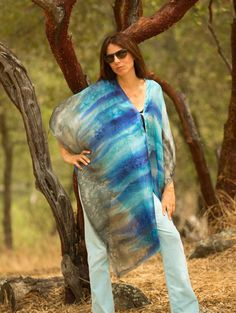 Blue silk poncho hand painted turquoise and gray by SilkArtbyLiene