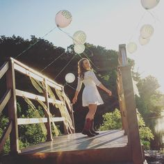 Balloons and streamers tied to a bridge by the lake. You just can't plan these things! So fun doing senior pictures with Kenzie last night. You are going to love all of the sweet pictures with her horses. #stylemuse17 #seniorpictures