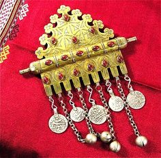 Antique Gilded Silver Turkoman Tumar Bozbend with Coins and Bell Beads | craftsofthepast - Antiques on ArtFire