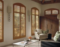 Part furniture, part fashion, The Hunter Douglas Heritance® hardwood shutters handcrafted series features a curated selection of designer finishes. #WindowTreatments #LivingRoom