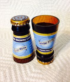 Set of 2 Upcycled Blue Moon Beer Bottle Shot Glasses. Made from recycled bottles. Each shot glass is hand cut then carefully sanded to