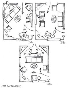 Lots of ideas for arranging furniture around a fireplace in the corner of a room