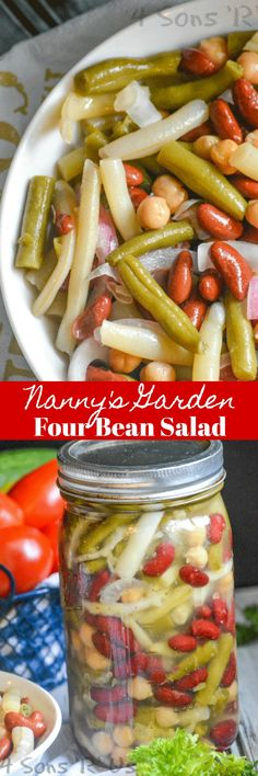 An easy recipe, this version of Nanny& Garden Four Bean Salad is the perfect healthy vegetable-laden dish to bring to Summer potlucks, barbecues, or any grilling parties. Summer Potluck, Summer Salads, Party Summer, Vegetarian Pasta Dishes, Vegetarian Recipes, Vegan Recepies, Healthy Salad Recipes, Vegetable Recipes, Bean Salad Recipes