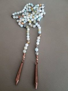 Long Beaded Necklace Double Wrap Necklace Amazonite Beaded