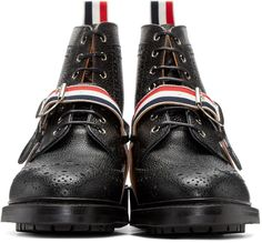Thom Browne for Men Collection Awesome Shoes, Thom Browne, Crazy Shoes, Men's Accessories, Fashion Details, Combat Boots, Kicks, Black Leather, Industrial