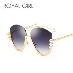 702792703a7 ROYAL GIRL Semi-Rimless Sunglasses Women Pearl Decoration Brown Red Metal  SS328
