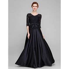 A-line+Mother+of+the+Bride+Dress+Floor-length+Half+Sleeve+Lace+/+Satin+with+Bow(s)+/…