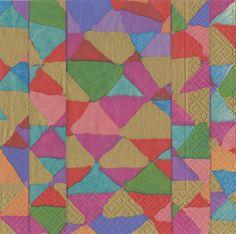 Caspari Shimmer Geometric Quilt Printed 3-Ply Paper Cocktail Beverage Napkins Wholesale 14040C