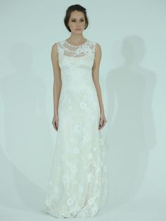 Claire Pettibone lace column wedding dress with lace yoke from Spring 2016